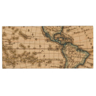 Engraved Western Hemisphere Map Wood USB Flash Drive