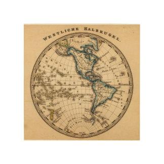 Engraved Western Hemisphere Map Wood Wall Decor