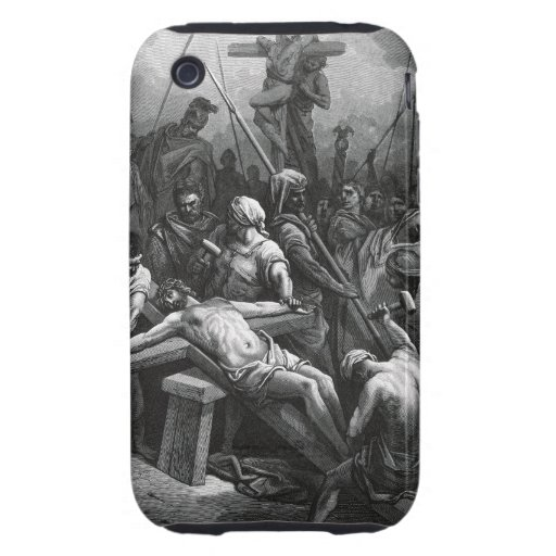 Engraving Jesus Crucifixion 1866 by Gustave Dore Tough iPhone 3 Cover