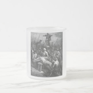 Engraving Jesus Crucifixion 1866 by Gustave Dore Frosted Glass Mug