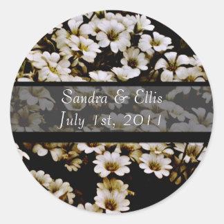 Enhanced Dasies Wedding Label Round Sticker