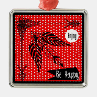Enjoy Be Happy Red White Black Boho Arrows Feather Christmas Ornament