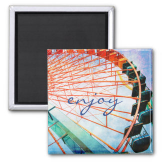 """Enjoy"" colorful, fun ferris wheel photo magnet"