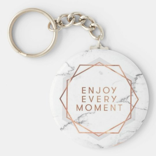 Enjoy Every Moment Rose Gold Marble Key Chain
