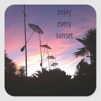 enjoy every sunset square sticker