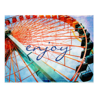 """Enjoy"" inspiration ferris wheel photo postcard"