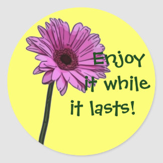 Enjoy it while it lasts! round sticker
