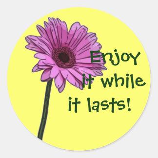 Enjoy it while it lasts! round sticker