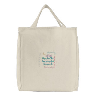 Enjoy Life inspirational Embroidered Tote Bags