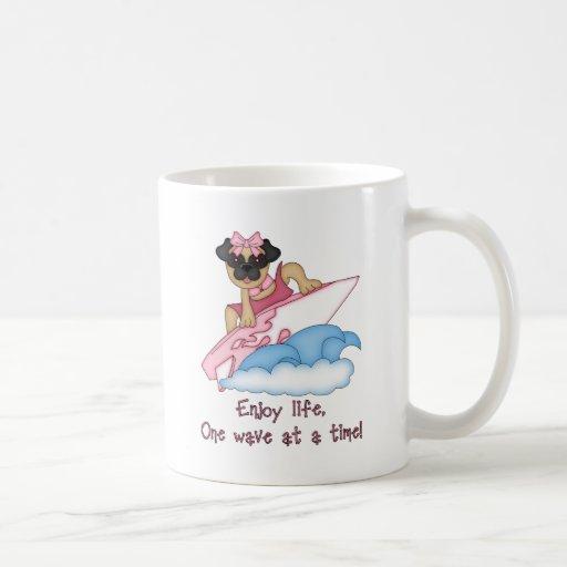 Enjoy Life, One Wave at A Time Pug Surfer Tees Coffee Mugs
