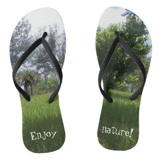 Enjoy nature Gorgeous Green Nature Print Flip Flops