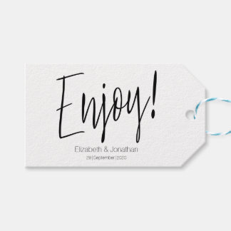 Enjoy Simple Calligraphy Wedding Favor Tag