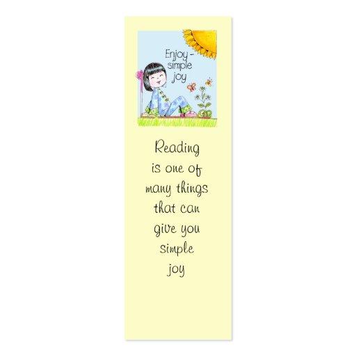 Enjoy Simple Joy bookmark Business Card Templates
