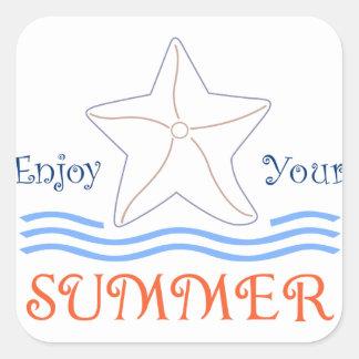 Enjoy Summer Applique Square Sticker