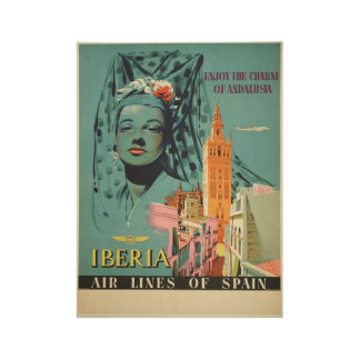Enjoy the Charm of Andalusia Vintage Travel Wood Poster