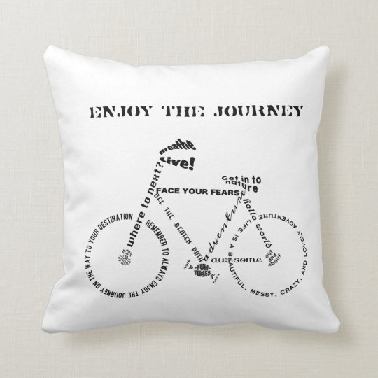 Enjoy the Journey, Adventure Words Bicycle Cushion