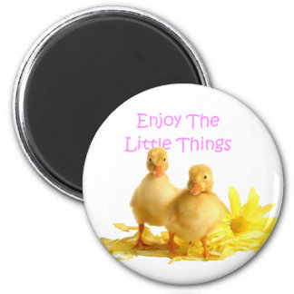 Enjoy The Little Things, Ducklings 6 Cm Round Magnet