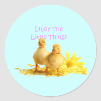Enjoy The Little Things, Ducklings Round Sticker