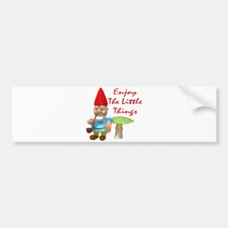 Enjoy The Little Things Gnome Bumper Sticker