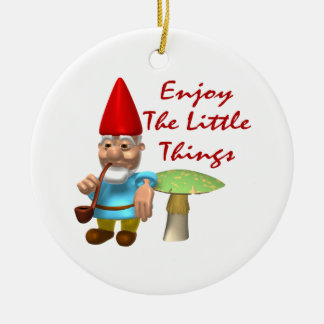Enjoy The Little Things Gnome Double-Sided Ceramic Round Christmas Ornament