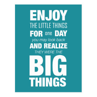 Enjoy the little things! Inspirational Typography Postcard