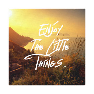 """""""Enjoy the little Things""""  Quote Sunset Ocean View Canvas Print"""
