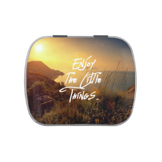 """""""Enjoy the little Things""""  Quote Sunset Sea View Candy Tin"""