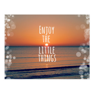Enjoy the Little Things Sunset Quote Postcard