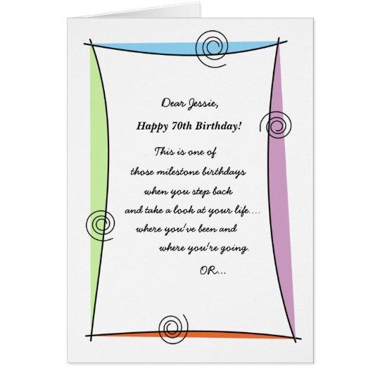 Enjoy the moment 70th Birthday Card