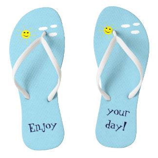 Enjoy your day Cute Smiley Sun Light Blue Happy Flip Flops