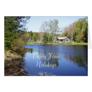Enjoy Your Holiday-Water Surrounded by Trees Greeting Card
