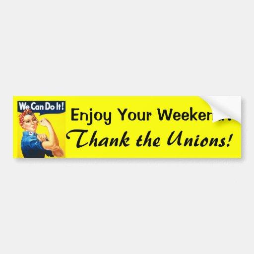 Enjoy Your Weekend? bumper sticker
