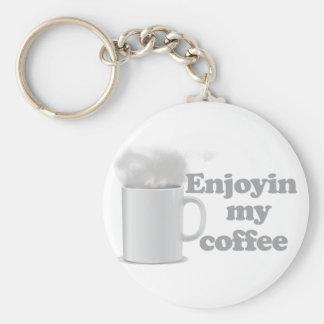 Enjoyin My Coffee Basic Round Button Key Ring