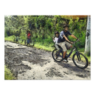Enjoying cycling on a rough track photographic print