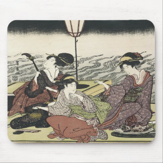 Enjoying the Cool of The Evening, Toyohiro, 1800s Mouse Mat