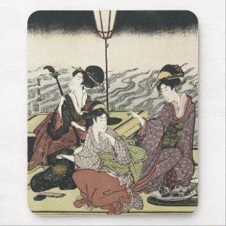 Enjoying the Cool of The Evening, Toyohiro, 1800s Mouse Pad