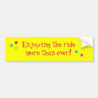 Enjoying the ride more than ever! :) bumper sticker