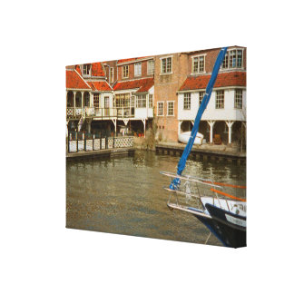 Enkhuizen, canals boats and houses stretched canvas prints