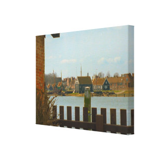 Enkhuizen, canals, village houses stretched canvas prints