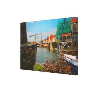 Enkhuizen,Dutch bridge and canals Canvas Print