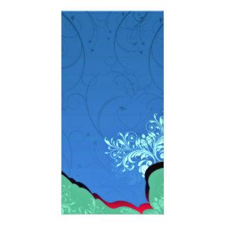 Enlightening Bluish Floral and black swirls Custom Photo Card