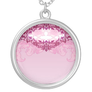 Enlightening pink damask and floral gift necklace
