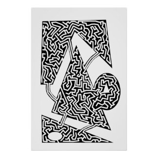 enlined shapes maze posters