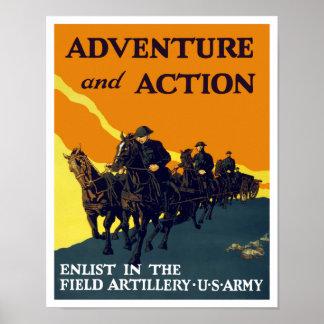 Enlist In The Field Artillery -- WW1 Army Poster