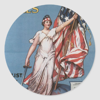 """Enlist Now for U.S. Army"" circa 1916 Round Sticker"