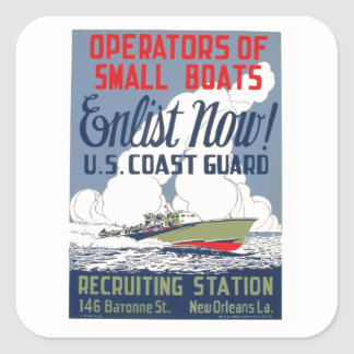 Enlist Now! U.S. Coast Guard Square Sticker