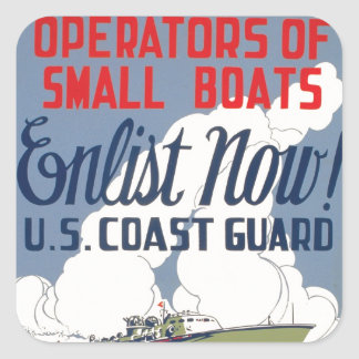 Enlist Now! U.S. Coast Guard Square Sticker