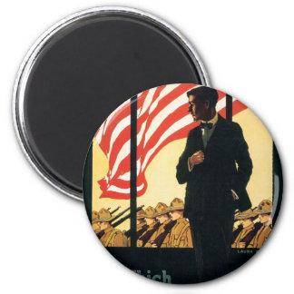 """Enlist"" Old U.S. Military Poster circa 1917 6 Cm Round Magnet"