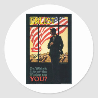 """Enlist"" Old U.S. Military Poster circa 1917 Round Sticker"