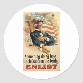 """""""Enlist"""" Old U.S. Military Poster circa 1917 Stickers"""